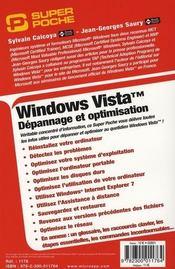 Windows Vista ; depannage et optimisation - 4ème de couverture - Format classique