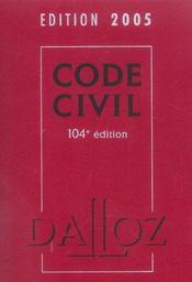 Code Civil 2005 - Intérieur - Format classique