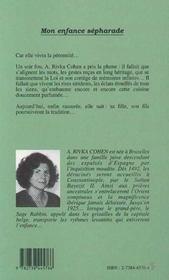 Mon Enfance Sepharade : Memoires Judeo-Espagnoles - 4ème de couverture - Format classique