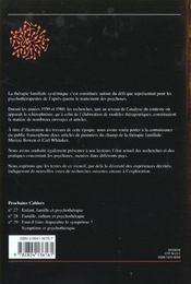 Cahiers Critiques De Therapie Familiale N.25 ; Psychose Et Famille - 4ème de couverture - Format classique