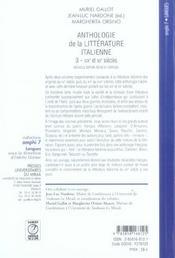 Anthologie de la litterature italienne tome 3 (2eme edition). xixe et xxe siecle - 4ème de couverture - Format classique