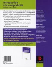 Introduction à la comptabilité ; cours & applications - 4ème de couverture - Format classique
