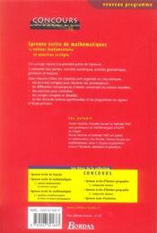 Épreuve écrite de mathématiques t.1 ; notions fondamentales et exercices corrigés - 4ème de couverture - Format classique