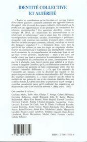 Identitie Collective Et Alterite ; Diversite Des Espaces ; Specificite Des Pratiques - 4ème de couverture - Format classique