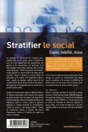 Stratifier le social ; emploi, mobilité, réseau - 4ème de couverture - Format classique