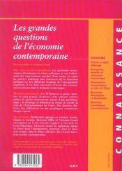 Les grandes questions de l'economie contemporaine - 4ème de couverture - Format classique