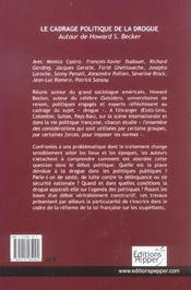 Le Cadrage Politique De La Drogue - 4ème de couverture - Format classique