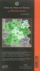 Guide des abbayes et prieurés en Rhone-Alpes - 4ème de couverture - Format classique