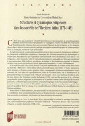 Structures et dynamiques religieuses dans les sociétés de l'Occident latin (1179-1449) - 4ème de couverture - Format classique