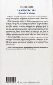 La norme du vrai ; philosophie de la logique - 4ème de couverture - Format classique