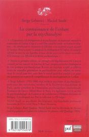 La connaissance de l'enfant par la psychanalyse (2e édition) - 4ème de couverture - Format classique