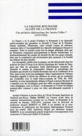 La grande Roumanie alliée de la France ; une péripétie diplomatique des années folles ? (1919-1933) - 4ème de couverture - Format classique