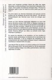Changer pour gagner ? les réformes des lois électorales en belgique - 4ème de couverture - Format classique