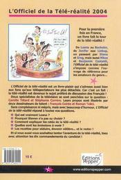 L'Officiel De La Tele Realite - 4ème de couverture - Format classique