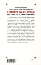 Lumières pour l'avenir ; réflexions sur le temps et sur l'éternité - 4ème de couverture - Format classique