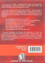 Etablissements Publics De Cooperation Intercommunale. Les E.P.C.I. Au Coeur De L - 4ème de couverture - Format classique