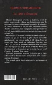 La table d'emeraude et sa tradition alchimique - 4ème de couverture - Format classique