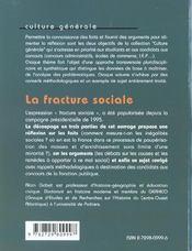La Fracture Sociale Les Faits Les Arguments Un Sujet Corrige - 4ème de couverture - Format classique