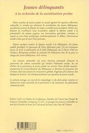 Jeunes Delinquants ; A La Recherche De La Socialisation Perdue ; 2e Edition - 4ème de couverture - Format classique