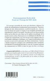 Postcommunisme Fin De Siecle ; Essai Sur L'Europe Du Xxi Siecle - 4ème de couverture - Format classique