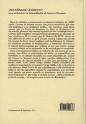 Dictionnaire De Diderot - 4ème de couverture - Format classique