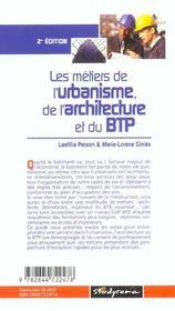 Les metiers de l'urbanisme de l'architecture et du btp ; 2e edition - 4ème de couverture - Format classique