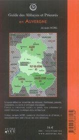 Guide des abbayes et prieurés en Auvergne - 4ème de couverture - Format classique