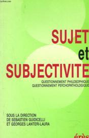 Sujet et subjectivité - Couverture - Format classique