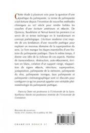 Palimpsestes poétiques ; effacement et superposition - 4ème de couverture - Format classique