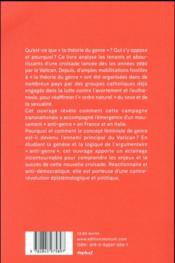La croisade anti-genre ; du Vatican aux Manifs pour tous - 4ème de couverture - Format classique