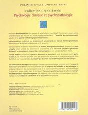 Psychologie clinique et psychopathologie - 4ème de couverture - Format classique