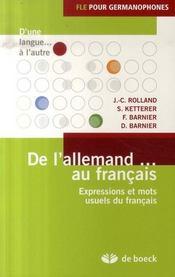 De l'allemand au français ; expressions et mots usuels du français - Intérieur - Format classique