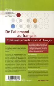 De l'allemand au français ; expressions et mots usuels du français - 4ème de couverture - Format classique
