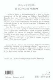 Silence De Moliere (Le) - 4ème de couverture - Format classique
