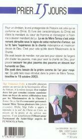 Prier 15 jours avec... ; mère Teresa - 4ème de couverture - Format classique