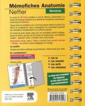 Mémofiches anatomie Netter ; membres (3e édition) - 4ème de couverture - Format classique