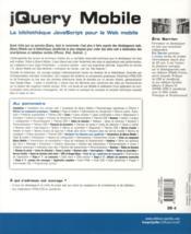 Jquery mobile ; la blibliothèque javascript pour le web mobile - 4ème de couverture - Format classique