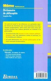 Dictionnaire de philosophie - 4ème de couverture - Format classique