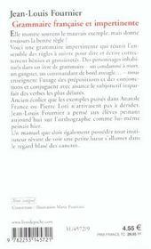 Grammaire francaise et impertinente - 4ème de couverture - Format classique