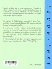 Auto-Evaluation En Mathematiques 800 Questions Pour Comprendre Et Assimiler Le Cours Pc-Pc*-Psi-Ps - 4ème de couverture - Format classique