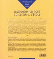 L'enseignement des sports collectifs à l'école - 4ème de couverture - Format classique