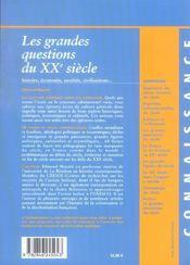 Les grandes questions du xx siecle - 4ème de couverture - Format classique