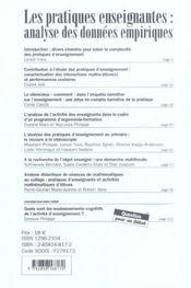 Les Pratiques Enseignantes: Analyse Des Donnees Empiriques - 4ème de couverture - Format classique