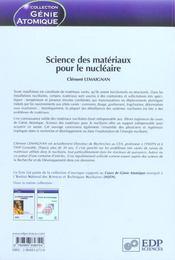 Science des matériaux pour le nucléaire - 4ème de couverture - Format classique