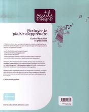 Partager le plaisir d'apprendre ; guide d'éducation au préscolaire - 4ème de couverture - Format classique