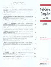 A L'Ecart Des Metropoles, De Nouvelles Territorialites. Revue Sud-Ouest Europeen - 4ème de couverture - Format classique