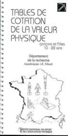 Tables De Cotation De La Valeur Physique - Couverture - Format classique