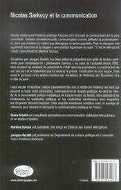 Nicolas Sarkozy Et La Communication - 4ème de couverture - Format classique