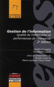 Gestion de l'information ; qualité de l'information et performances de l'entreprise - Couverture - Format classique