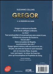 Gregor T.3 ; la prophétie du sang - 4ème de couverture - Format classique